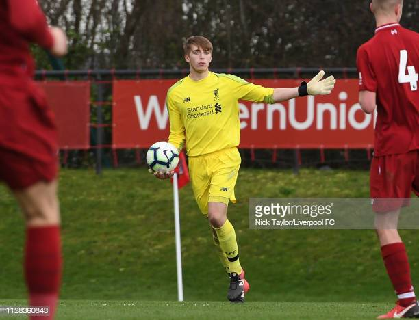 Daniel Atherton of Liverpool in action during the U18 Premier League game at The Kirkby Academy on March 2 2019 in Kirkby England