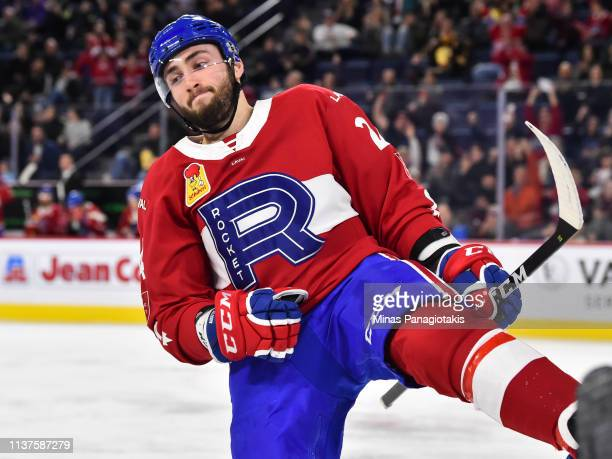 Daniel Audette of the Laval Rocket celebrates a second period goal against the Providence Bruins during the AHL game at Place Bell on March 20 2019...