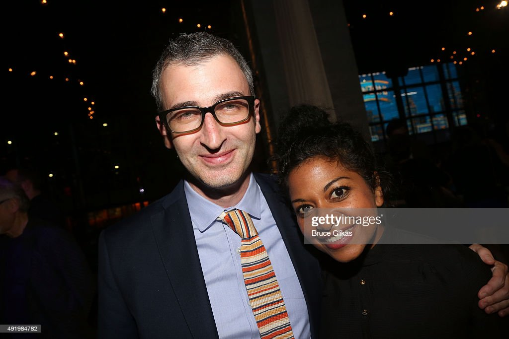 Daniel Aukin and Rebecca Naomi Jones pose at The Opening Night for the MTC production of Sam Shepard's 'Fool For Love' on Broadway at Urbo NYC on October 8, 2015 in New York City.