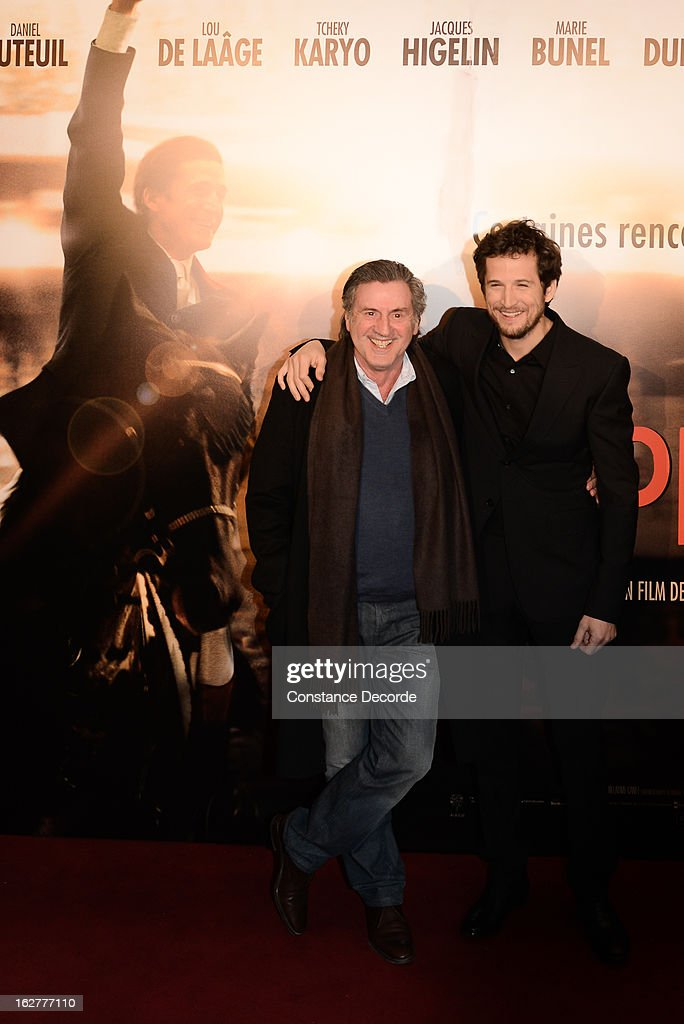Daniel Auteuil and Guillaume Canet attend the 'Jappeloup' premiere at Le Grand Rex on February 26, 2013 in Paris, France.