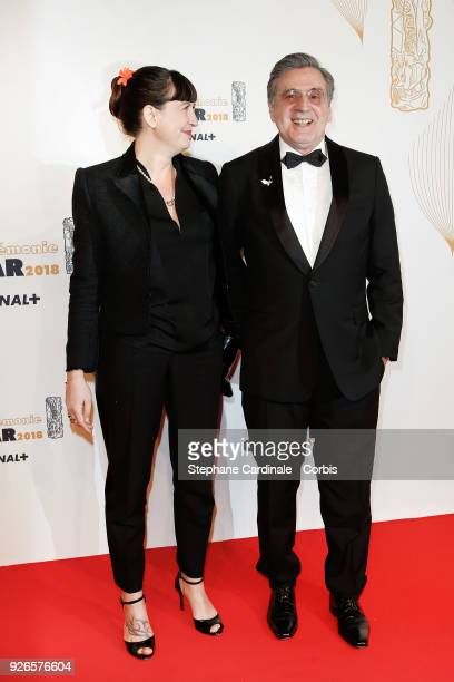 Daniel Auteuil and his wife Aude arrive at the Cesar Film Awards 2018 at Salle Pleyel at Le Fouquet's on March 2 2018 in Paris France