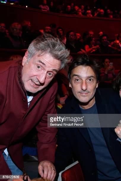 Daniel Auteuil and Yvan Attal attend Barbara makes Gerard Depardieu triumph in Depardieu Chante Barbara at Le Cirque D'Hiver on November 19 2017 in...