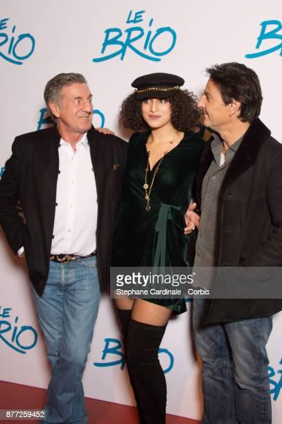 Daniel Auteuil Camelia Jordana and Yvan Attal attend the Le Brio Paris Premiere at Cinema Gaumont Capucine on November 21 2017 in Paris France