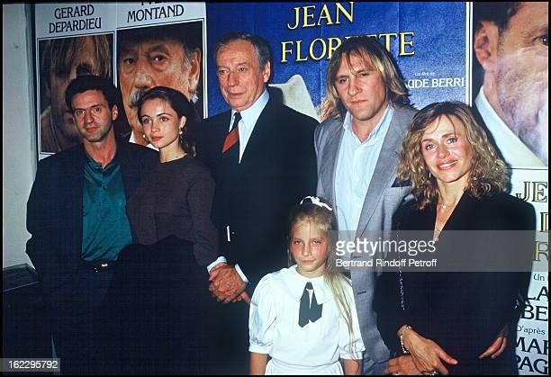 Daniel Auteuil, Emmanuelle Beart, Yves Montand, Gerard Depardieu, his wife Elisabeth and their daughter Julie at Jean De Florette film premiere in...