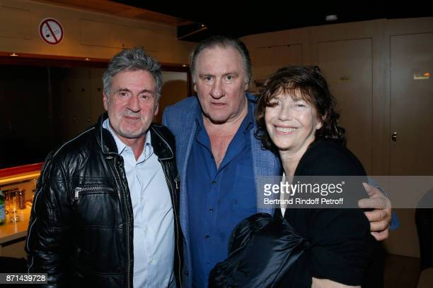 Daniel Auteuil Gerard Depardieu and Jane Birkin pose after 'Depardieu Chante Barbara' at Le Cirque d'Hiver on November 6 2017 in Paris France