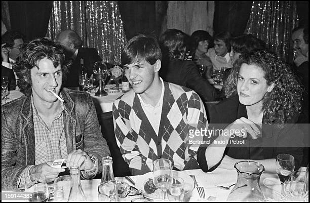 Daniel Auteuil his wife Anne Jousset and Paul Belmondo attend a party in Paris in 1981