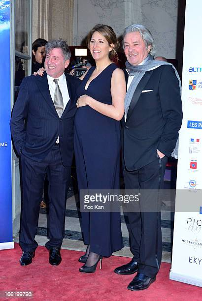 Daniel Auteuil Maud Fontenoy and Alain Delon attend the Maud Fontenoy Foundation Annual Gala Arrivals at Hotel de la Marine on April 9 2013 in Paris...