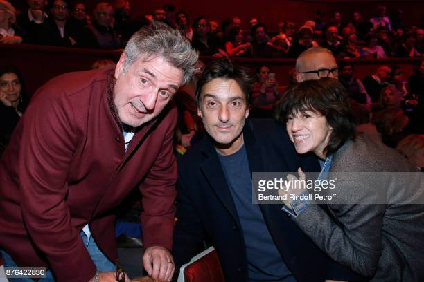 Daniel Auteuil Yvan Attal and Charlotte Gainsbourg attend Barbara makes Gerard Depardieu triumph in Depardieu Chante Barbara at Le Cirque D'Hiver on...