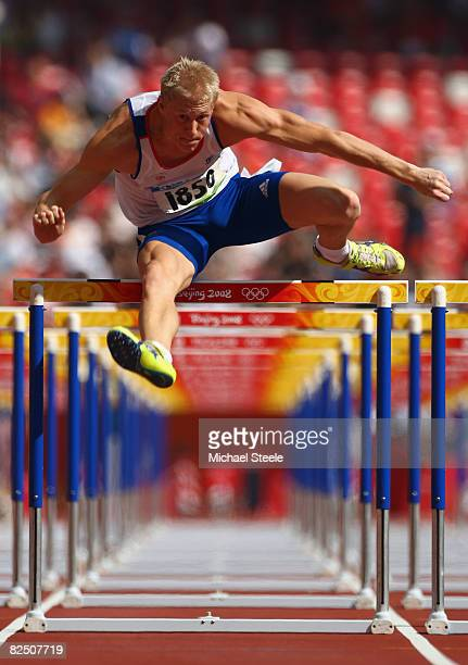 Daniel Awde of Great Britain competes in the 110m Hurdles of the Men's Decathlon at the National Stadium on Day 14 of the Beijing 2008 Olympic Games...