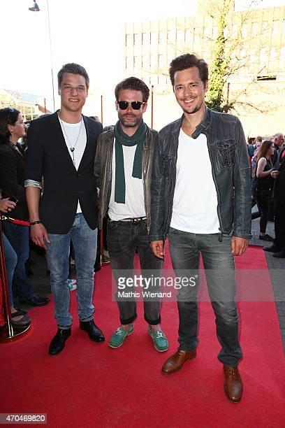 Daniel Axt Sebastian Schlemmer Jens Hartwig attend the 'Verbotene Liebe' Premiere at Cinenova on April 20 2015 in Cologne Germany