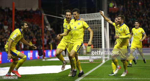 Daniel Ayala of Blackburn Rovers is congratulated on his goal during the Sky Bet Championship match between Nottingham Forest and Blackburn Rovers at...