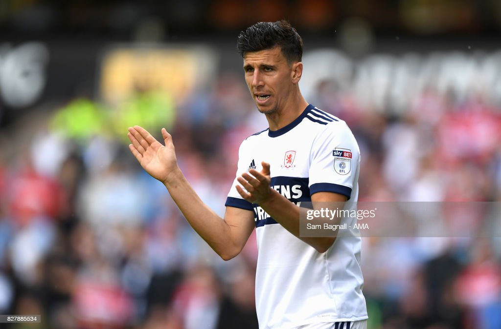 Daniel Ayala of Middlesborough during the Sky Bet Championship match between Wolverhampton and Middlesbrough at Molineux on August 5, 2017 in Wolverhampton, England.