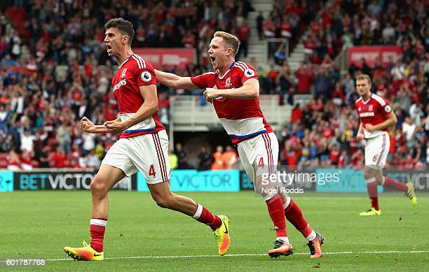Daniel Ayala of Middlesbrough celebrates scoring his sides first goal with Adam Forshaw of Middlesbrough during the Premier League match between...