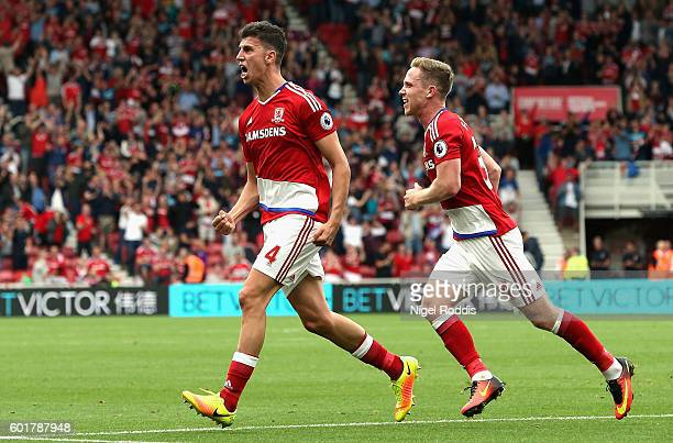 Daniel Ayala of Middlesbrough celebrates scoring his sides first goal with his team mates during the Premier League match between Middlesbrough and...