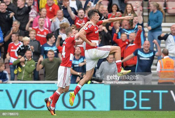 Daniel Ayala of Middlesbrough celebrates scoring his sides first goal during the Premier League match between Middlesbrough and Crystal Palace at...
