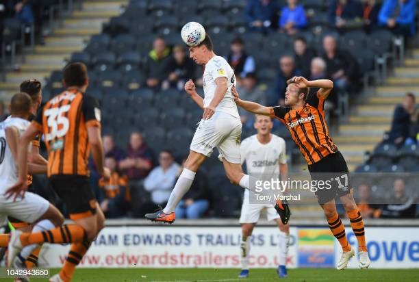 Daniel Ayala of Middlesbrough wins the ball in the air from Todd Kane of Hull City during the Sky Bet Championship match between Hull City and...