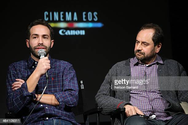 Daniel B Levin DP Chicagoland and Antonio Rossi DP Death Row Stories speak on stage during the Canon Spotlight CNN Original Series screening at the...
