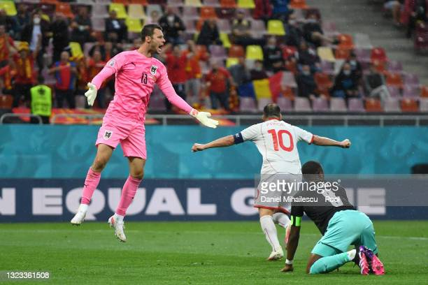 Daniel Bachmann of Austria reacts after conceding a goal scored by Goran Pandev of North Macedonia during the UEFA Euro 2020 Championship Group C...