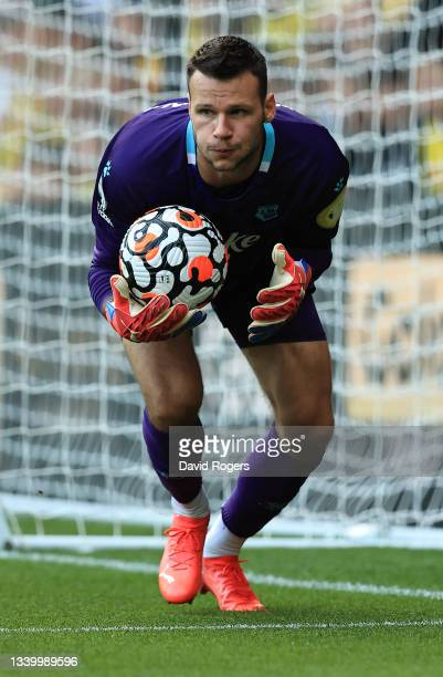 Daniel Bachmann of Watford catches the ball during the Premier League match between Watford and Wolverhampton Wanderers at Vicarage Road on September...