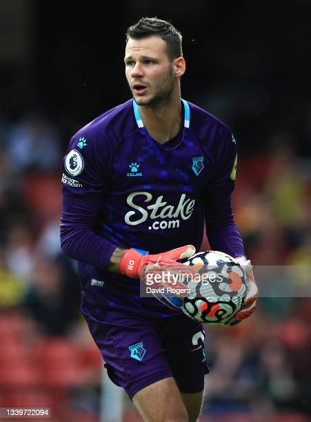 Daniel Bachmann of Watford looks on during the Premier League match between Watford and Wolverhampton Wanderers at Vicarage Road on September 11,...