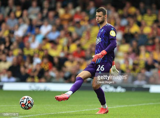 Daniel Bachmann of Watford passes the ball during the Premier League match between Watford and Wolverhampton Wanderers at Vicarage Road on September...