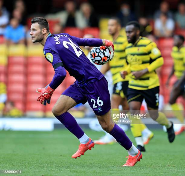 Daniel Bachmann of Watford prepares to throw the ball during the Premier League match between Watford and Wolverhampton Wanderers at Vicarage Road on...