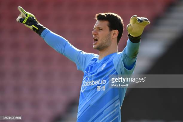 Daniel Bachmann of Watford shouts instructions during the Sky Bet Championship match between AFC Bournemouth and Watford at Vitality Stadium on...