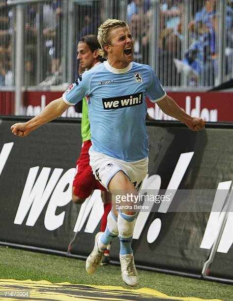 Daniel Baier of 1860 Munich celebrates the first goal during the Second Bundesliga match between 1860 Munich and Kickers Offenbach at the Allianz...