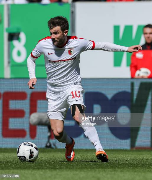 Daniel Baier of Augsburg controls the ball during the Bundesliga match between FC Augsburg and Hamburger SV at WWK Arena on April 30 2017 in Augsburg...
