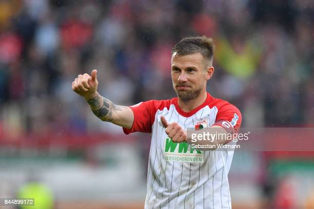 Daniel Baier of Augsburg gestures during the Bundesliga match between FC Augsburg and 1 FC Koeln at WWKArena on September 9 2017 in Augsburg Germany