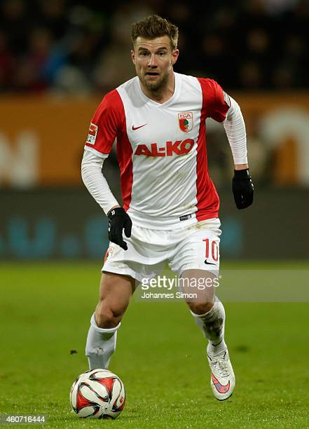 Daniel Baier of Augsburg in action during the Bundesliga match between FC Augsburg and Borussia Moenchengladbach at SGL Arena on December 20 2014 in...