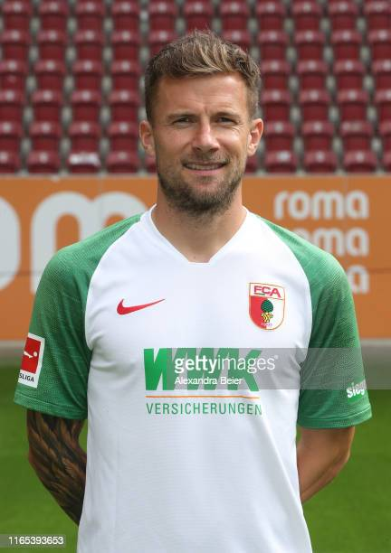 Daniel Baier of FC Augsburg poses during the team presentation at WWK-Arena on July 31, 2019 in Augsburg, Germany.