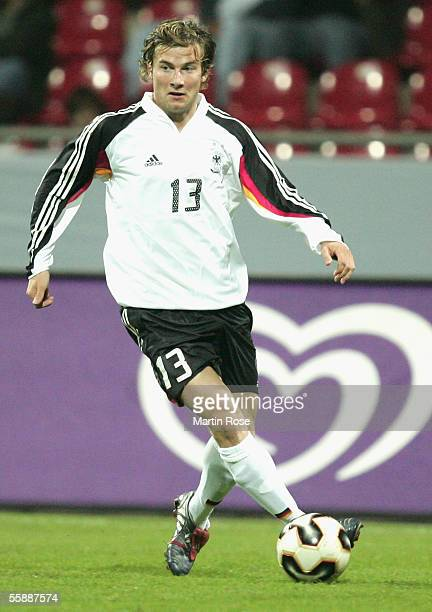 Daniel Baier of Germany runs with the ball during the Under 21 European Championship Qualifier match between Germany and Wales at the Hamburger...