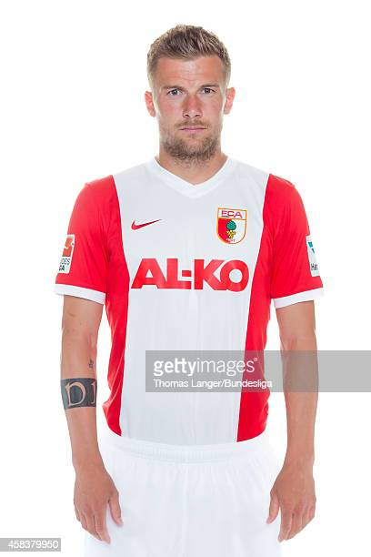 Daniel Baier poses during the FC Augsburg team presentation at SGLArena on July 16 2014 in Augsburg Germany