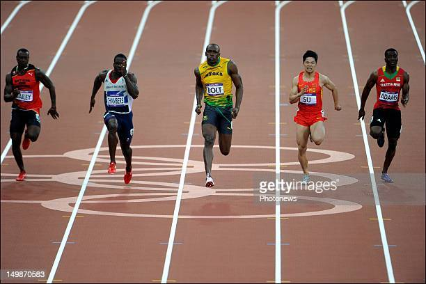Daniel Bailey Dwain Chambers Usain Bolt Bingtian Su and Antoine Adams pictured during the Men's 100m Semifinal on day 09 of the London 2012 Olympic...