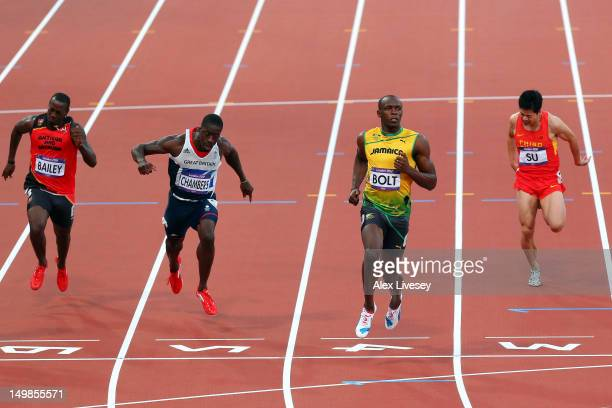 LONDON ENGLAND AUGUST Daniel Bailey of Antigua and Barbuda Dwain Chambers of Great Britain Usain Bolt of Jamaica and Bingtian Su of China compete in...