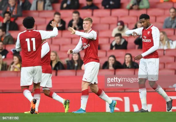 Daniel Ballard celebrates scoring Arsenal's 5th goal during the match between Arsenal and Blackpool at Emirates Stadium on April 16 2018 in London...