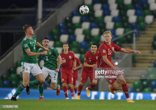 Daniel Ballard of Northern Ireland and Erling Braut Haaland of Norway during the UEFA Nations League group stage match between Northern Ireland and...
