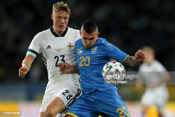 Daniel Ballard of Northern Ireland and Viktor Kovalenko of Ukraine battle for the ball during the international friendly match between Ukraine and...