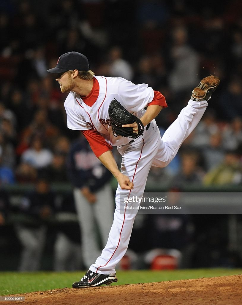 Daniel Bard #51 of the Boston Red Sox pitches against the Minnesota Twins in the ninth inning on May 19, 2010 at Fenway Park in Boston, Massachusetts. Bard picked up his first save and the Red Sox won 3-2.