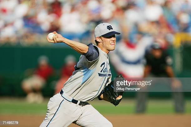 Daniel Bard of the North Carolina Tar Heels pitches against the Oregon State Beavers during game three of the NCAA College World Series Baseball...