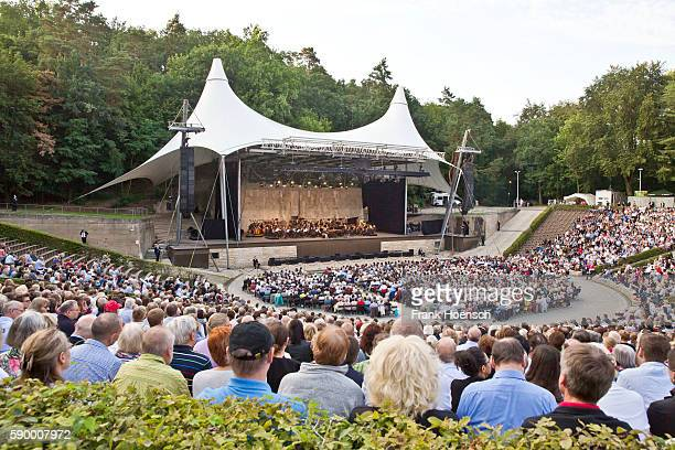 Daniel Barenboim and the WestEastern Divan Orchestra perform live during a concert at the Waldbuehne on August 13 2016 in Berlin Germany