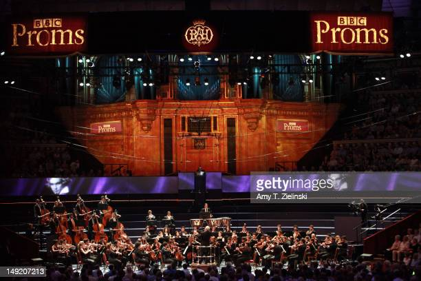Daniel Barenboim conducts the Beethoven Symphony No 8 in F major with the WestEastern Divan Orchestra during the BBC Proms at Royal Albert Hall on...