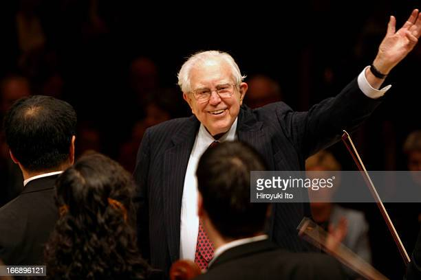 Daniel Barenboim leading the Chicago Symphony Orchestra at Carnegie Hall on Friday night, November 4, 2005.This image:The Composer Elliott Carter at...