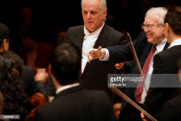 Daniel Barenboim leading the Chicago Symphony Orchestra at Carnegie Hall on Friday night, November 4, 2005.This image:The Composer Elliott Carter and...