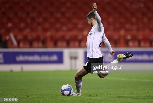 Daniel Barlaser of Rotherham United scores his sides first goal during the Sky Bet Championship match between Nottingham Forest and Reading at City...