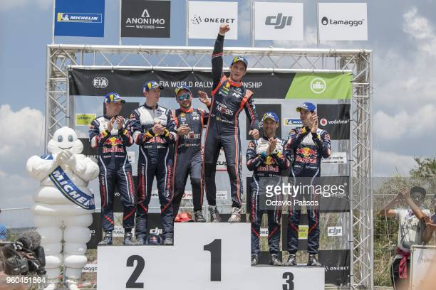 Daniel Barritt Elfyn Evans Nicolas Gilsoul Thierry Neuville Mikko Markkula and Teemu Suninen celebrates the at the Power Stage podium at the end of...