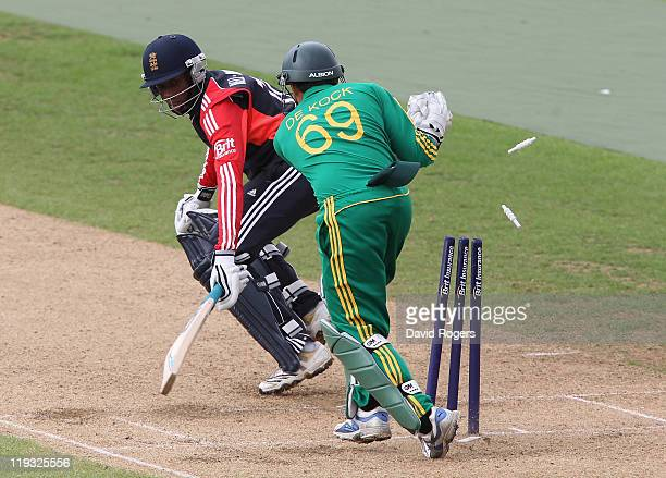 Daniel Bell-Drummond of England is stumped by wicket keeper Quinton de Kock during the one day International match between England under 19 and South...