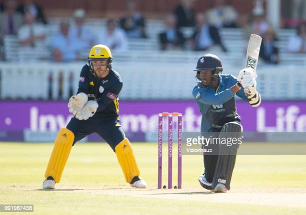 Daniel BellDrummond of Kent batting as Lewis McManus of Hampsire looks on during the Royal London OneDay Cup match between Hampshire and Kent at...