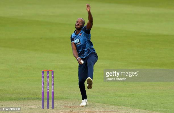 Daniel BellDrummond of Kent bowls during the Royal London One Day Cup match between Surrey and Kent at The Kia Oval on May 02 2019 in London England